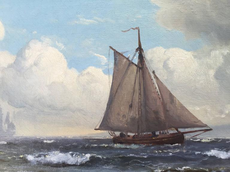 Here for your consideration is a fine example of the work of the famous Danish marine painter, Carl Frederick Sorensen. Oil on canvas in original unlined condition with it's original gold leaf frame. The painting is signed lower right and dated