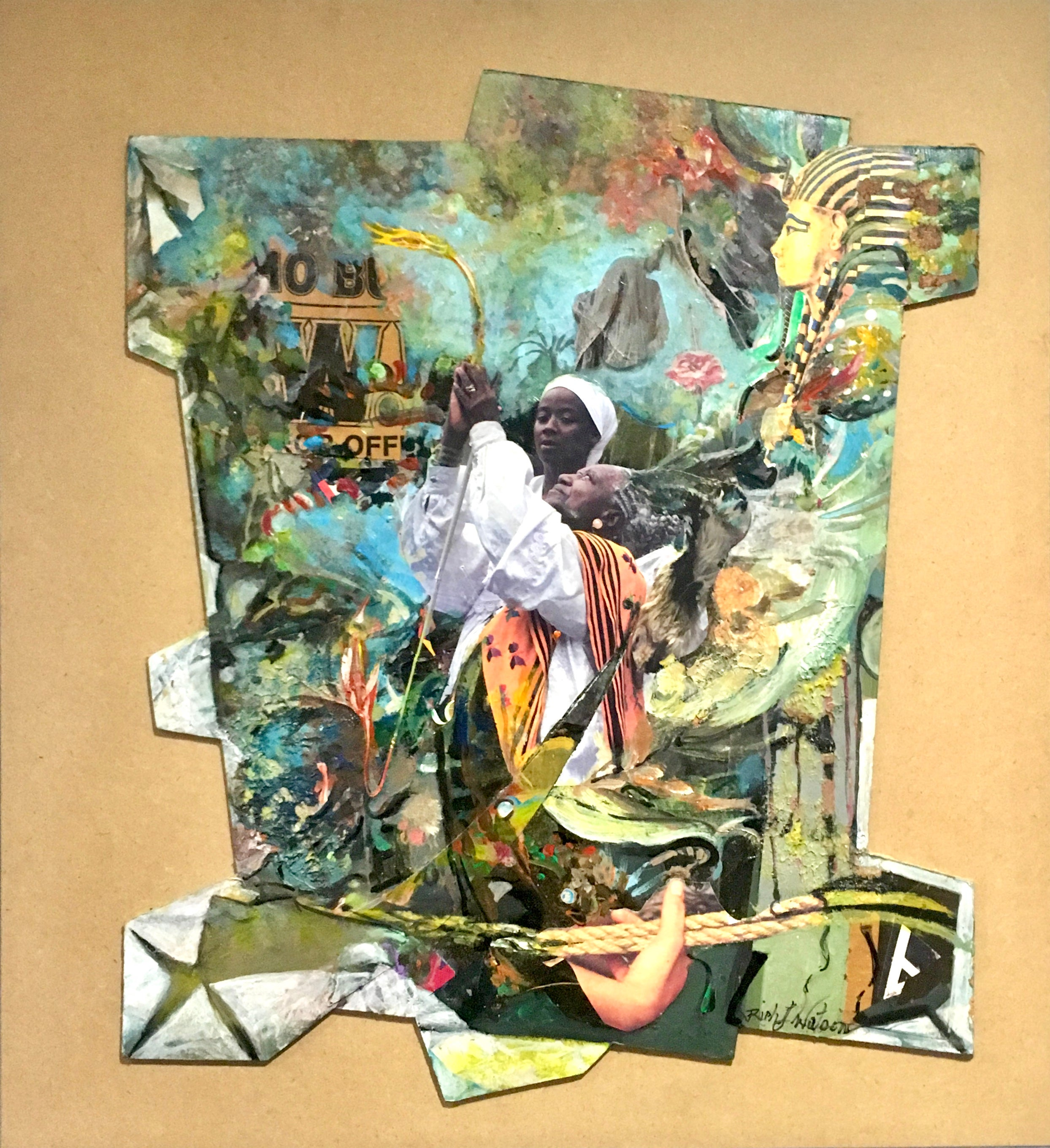 Every Time I Feel the Spirit - contemporary painting & collage w/ figures & blue