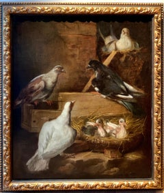 A happy nest - 17th century Italian painting bird animal - The nesting doves