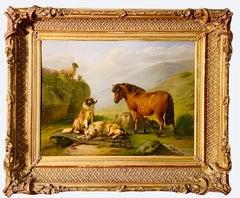 Guarding the Highlands - Romantic 19th century animal painting - Dog Sheep Pony