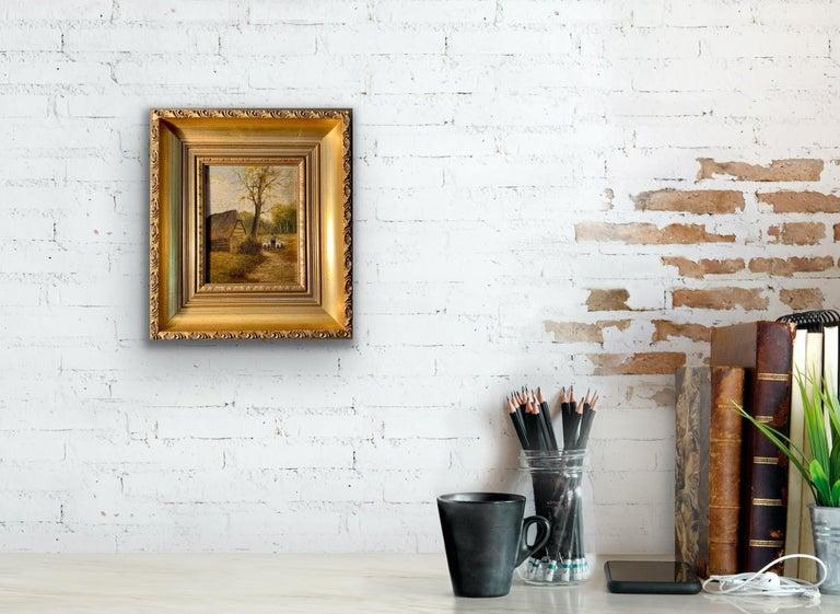 Ecole de Barbizon - Petite French Framed Oil Painting Shepherd and his flock 3