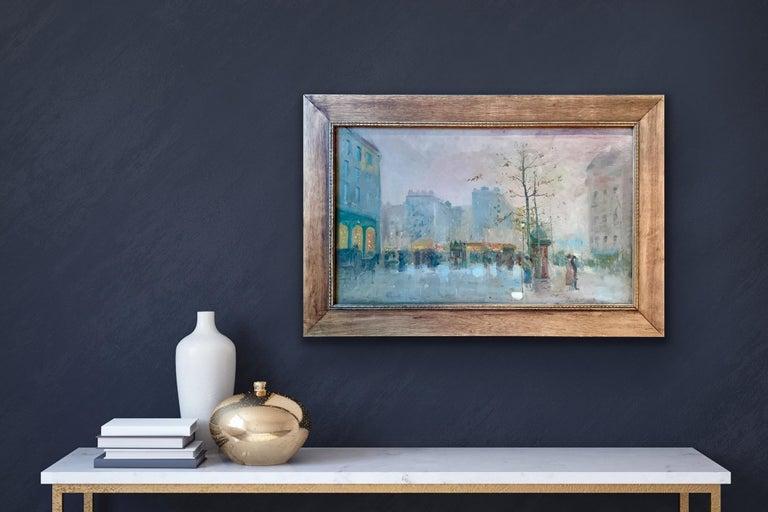 Emile Gérard Landscape Painting - Black friday offer 19th century French impressionistic Parisian cityscape