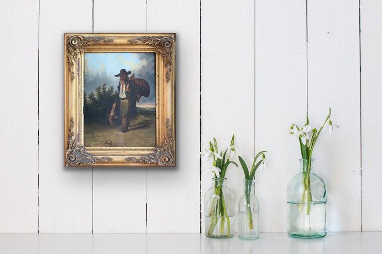 19th century figurative dutch landscape painting - Returning from the hunt  - Painting by Leonardus Raphael van den Braak