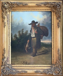 19th century figurative dutch landscape painting - Returning from the hunt