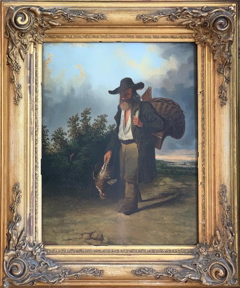 Leonardus Raphael van den Braak Landscape Painting - 19th century figurative dutch landscape painting - Returning from the hunt