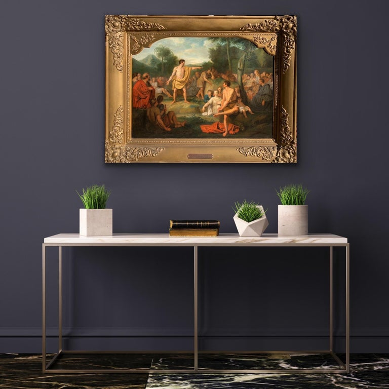 The preaching of John the Baptist - Biblical Religious Painting Neoclassicism - Brown Landscape Painting by Joannes Echarius Carolus Alberti (Circle)