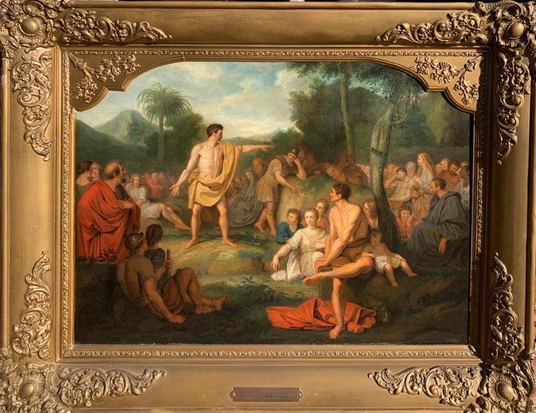 Joannes Echarius Carolus Alberti (Circle) Landscape Painting - The preaching of John the Baptist - Biblical Religious Painting Neoclassicism