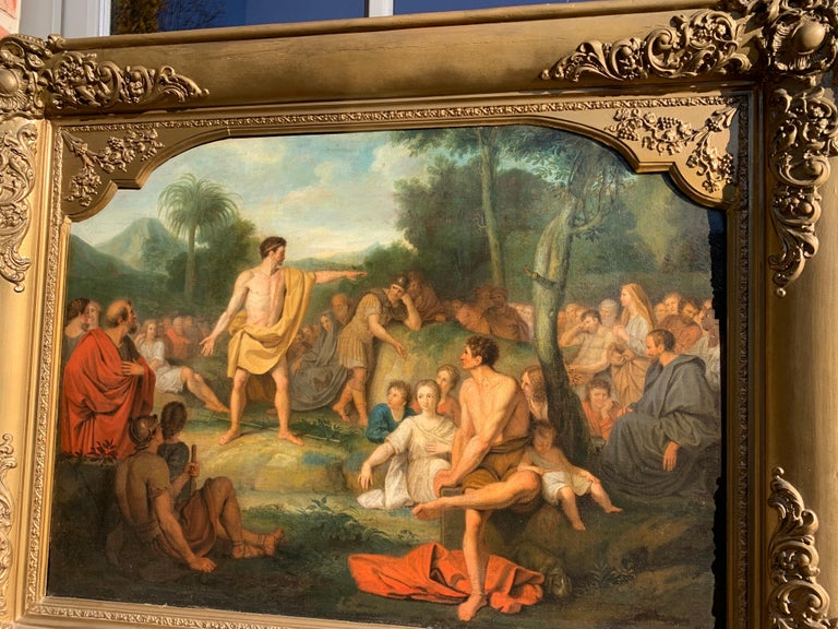 The preaching of John the Baptist - Biblical Religious Painting Neoclassicism For Sale 1