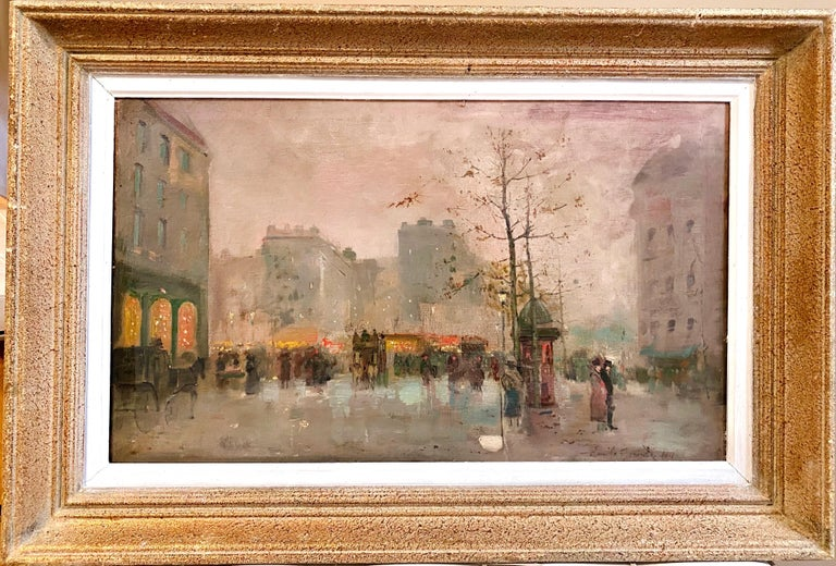 Emile Gérard Figurative Painting - 19th century French impressionistic Parisian cityscape