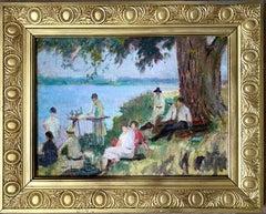 French 19th century impressionist painting - Bords de la Seine - Group Manet