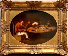 17th century Flemish Old Master painting A breugellian meal - Still-life Wine