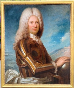 17th century French Old Master Portait of a noble man - Armour Knight Lace