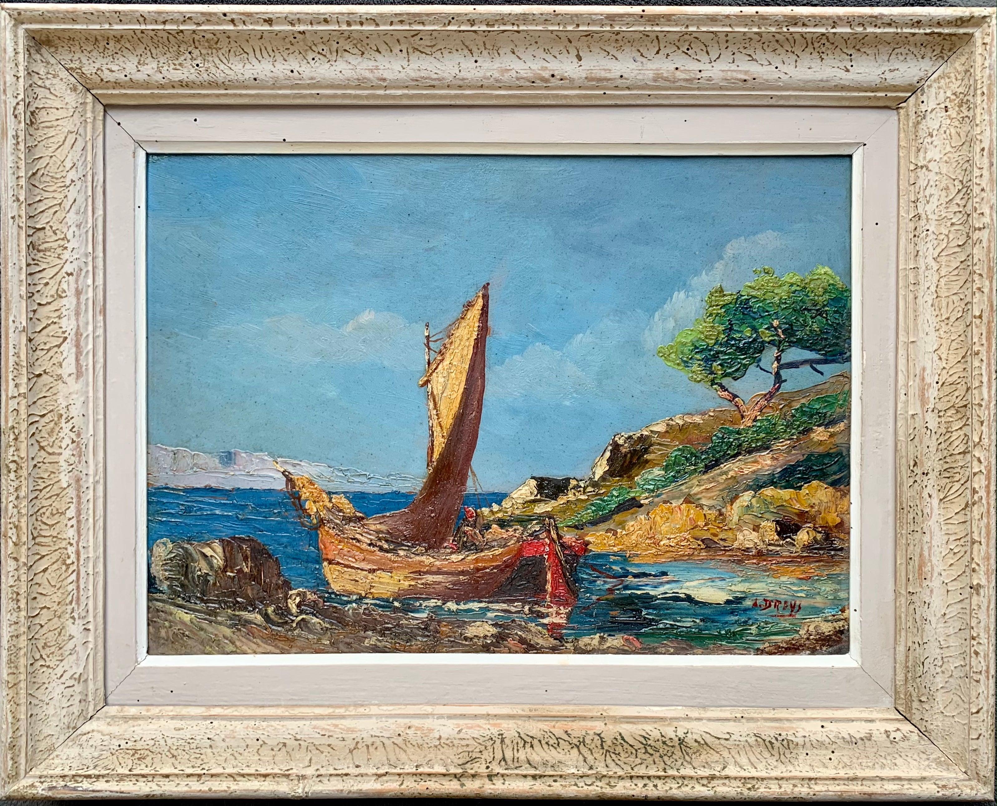 French 19th century impressionist painting Mediterranean Seaside - Cote d'Azur