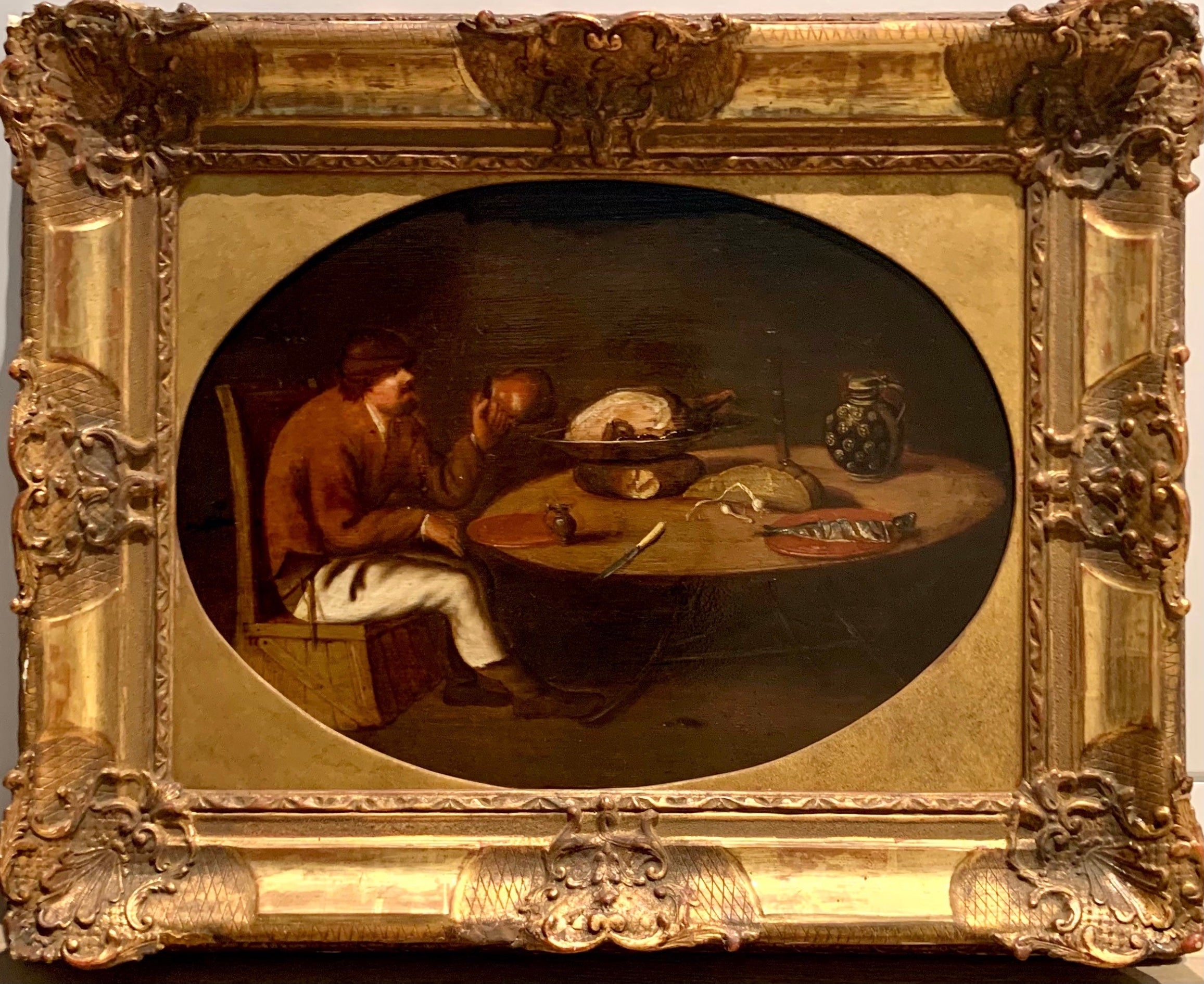 Flemish Old Master painting - A breugellian meal - Still-life Wine Feast