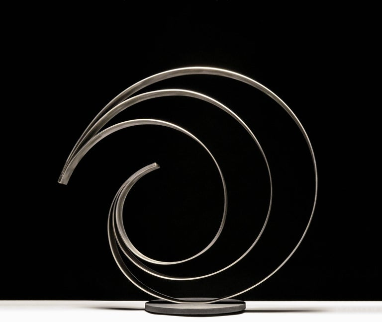 """""""Knot74S,"""" Stainless Steel with powder coated steel base, 29 x 31 x 12, Ed. of 12  Damon Hyldreth's work stands as a reminder of the connection between man and nature, blurring the divide between nature and structure, space and form. This results"""
