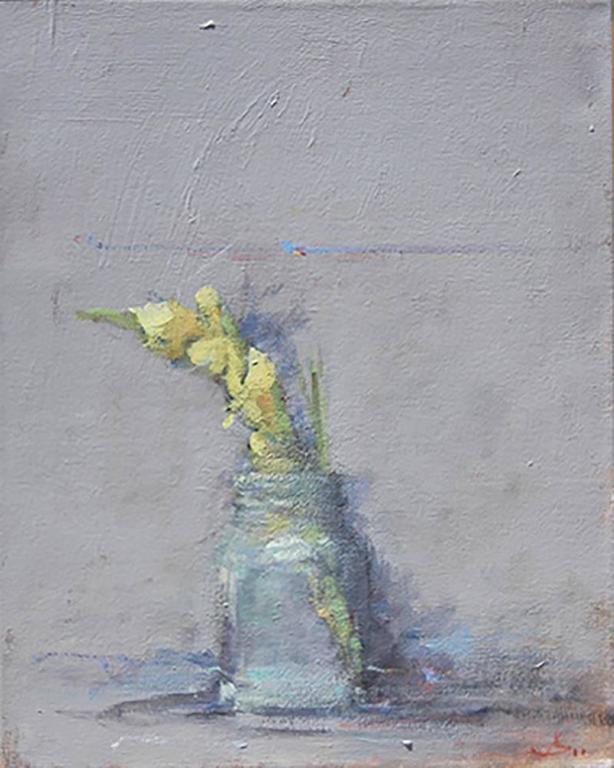 Terry DeLapp Still-Life Painting - Yellow Gladiola