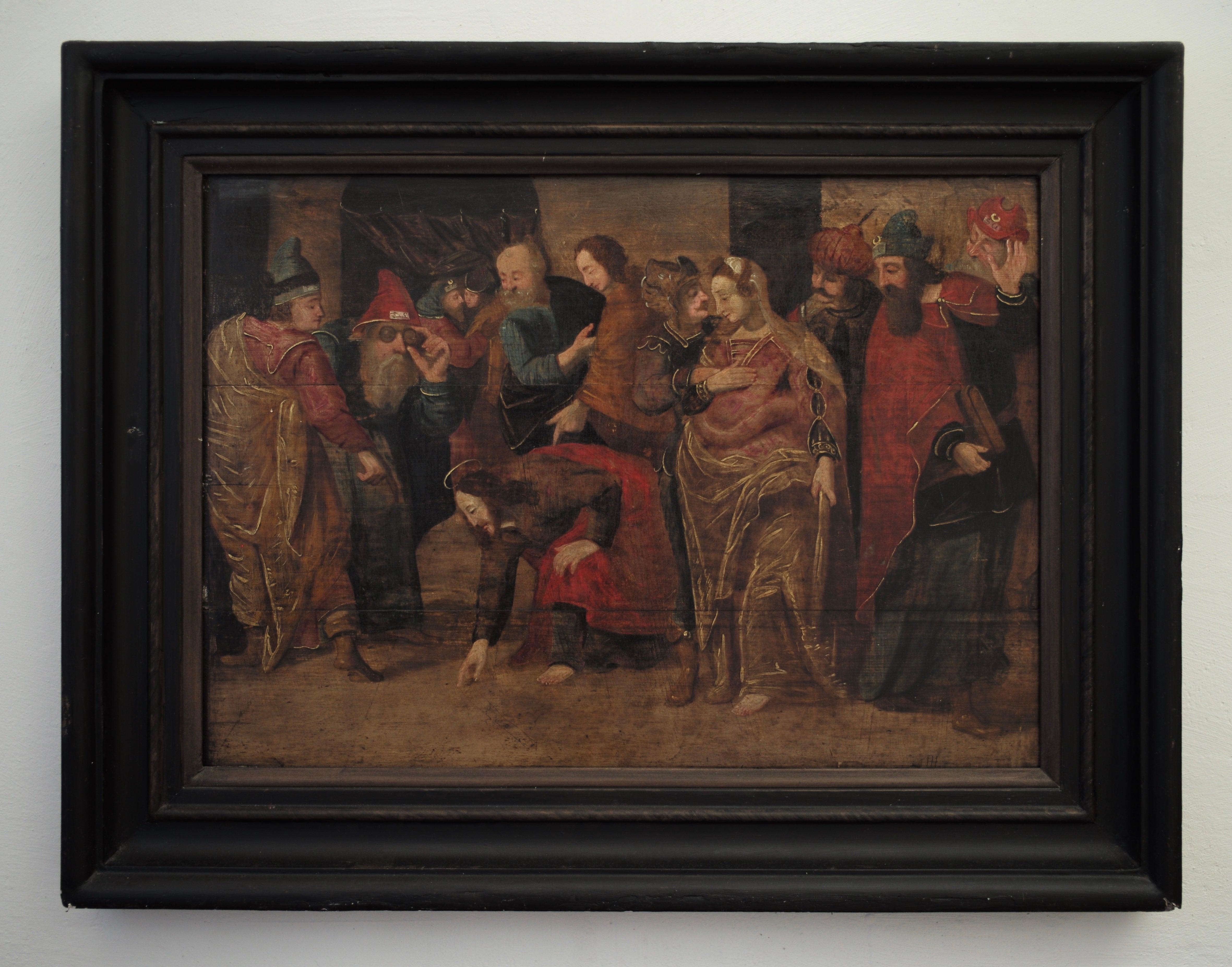 The Adulterous Woman by a Follower of Frans Francken II, Oil on Oak Panel