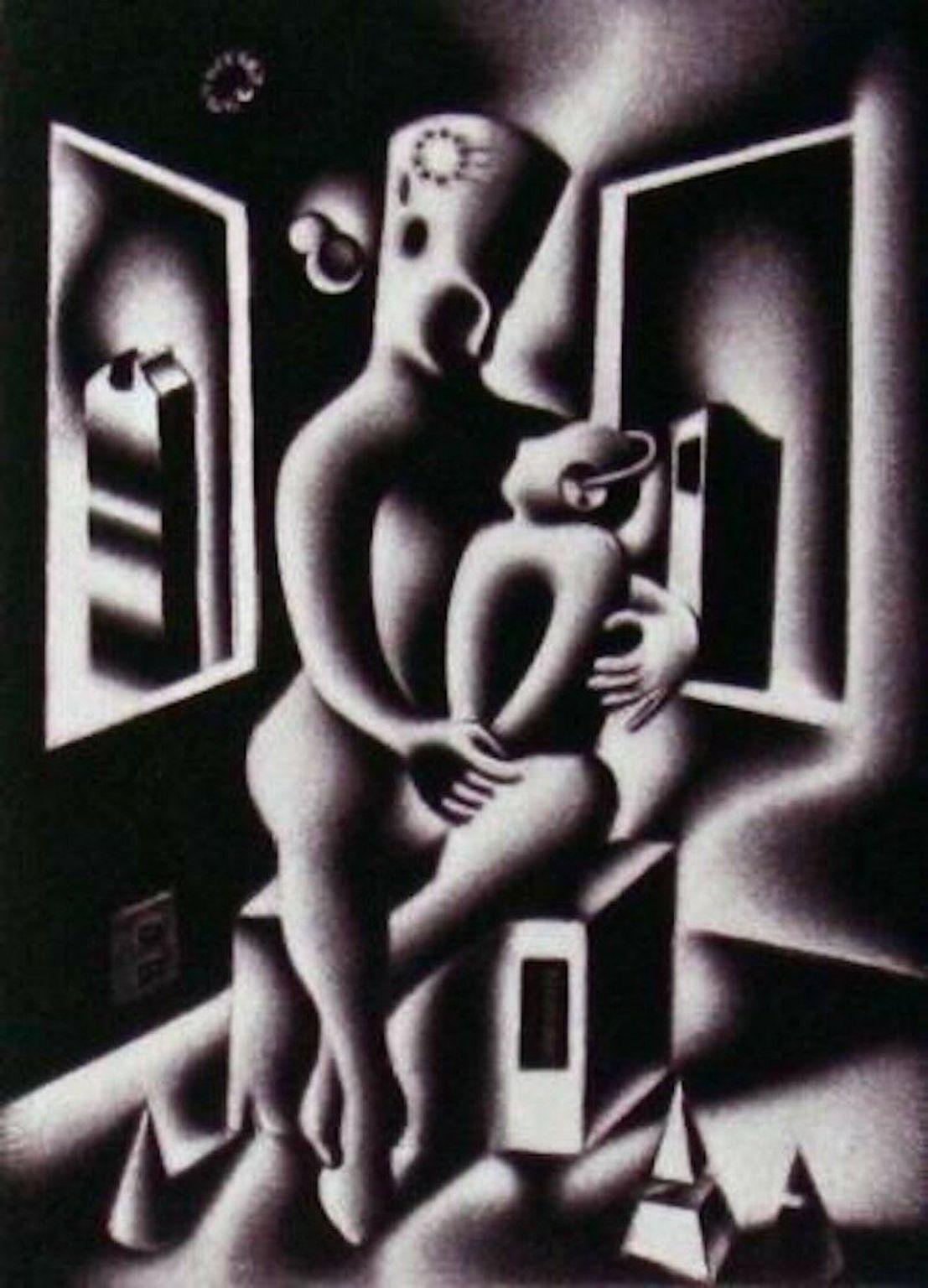 Oedipus, Limited Edition Mezzotint Etching, Mark Kostabi