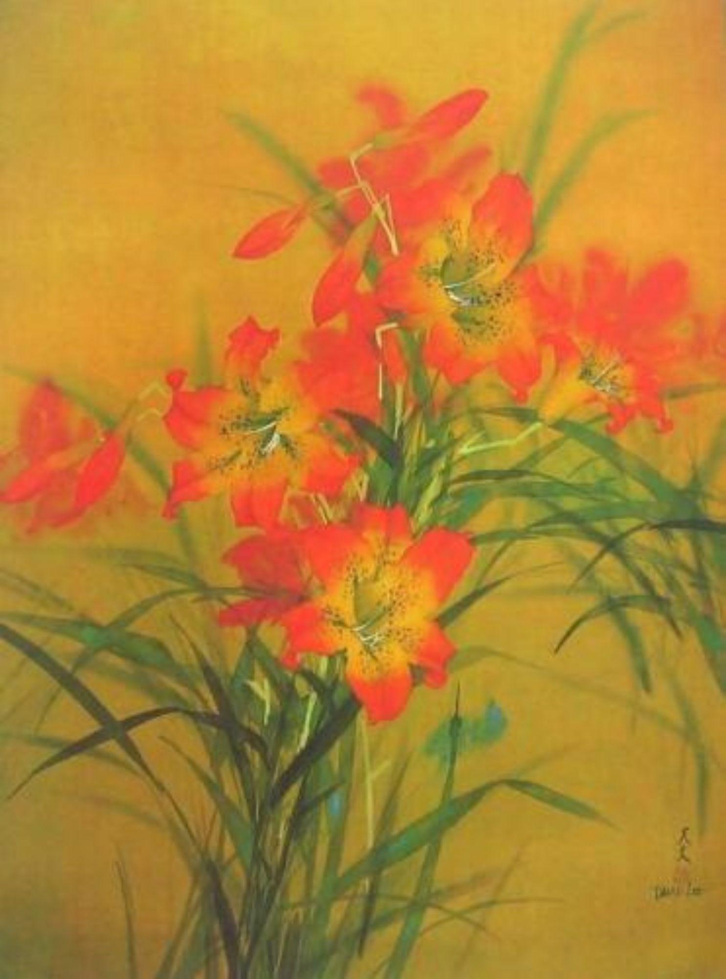 Tiger Lillies, Original Lithograph, David Lee