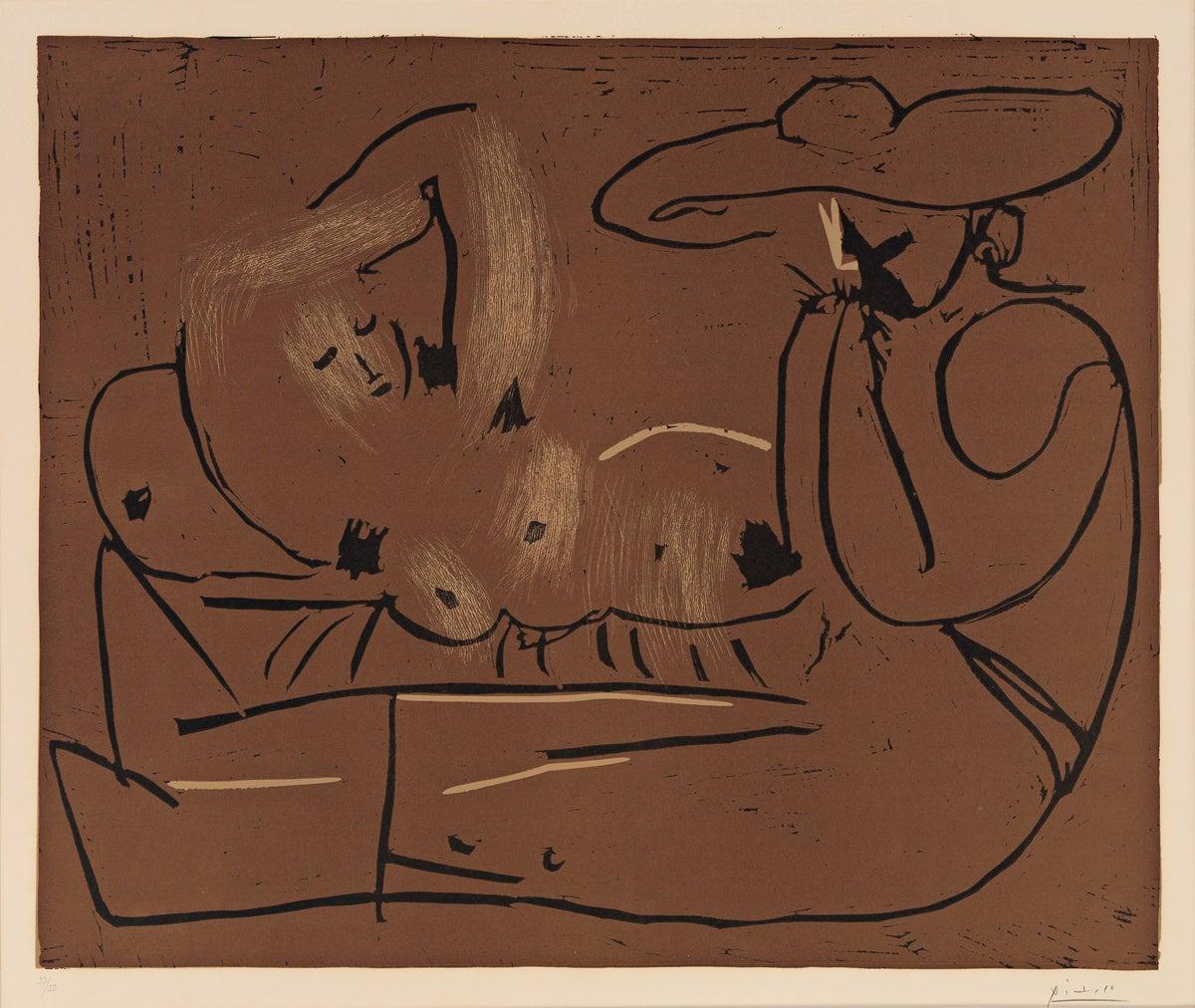 Femme Couchée et Homme au Grand Chapeau
