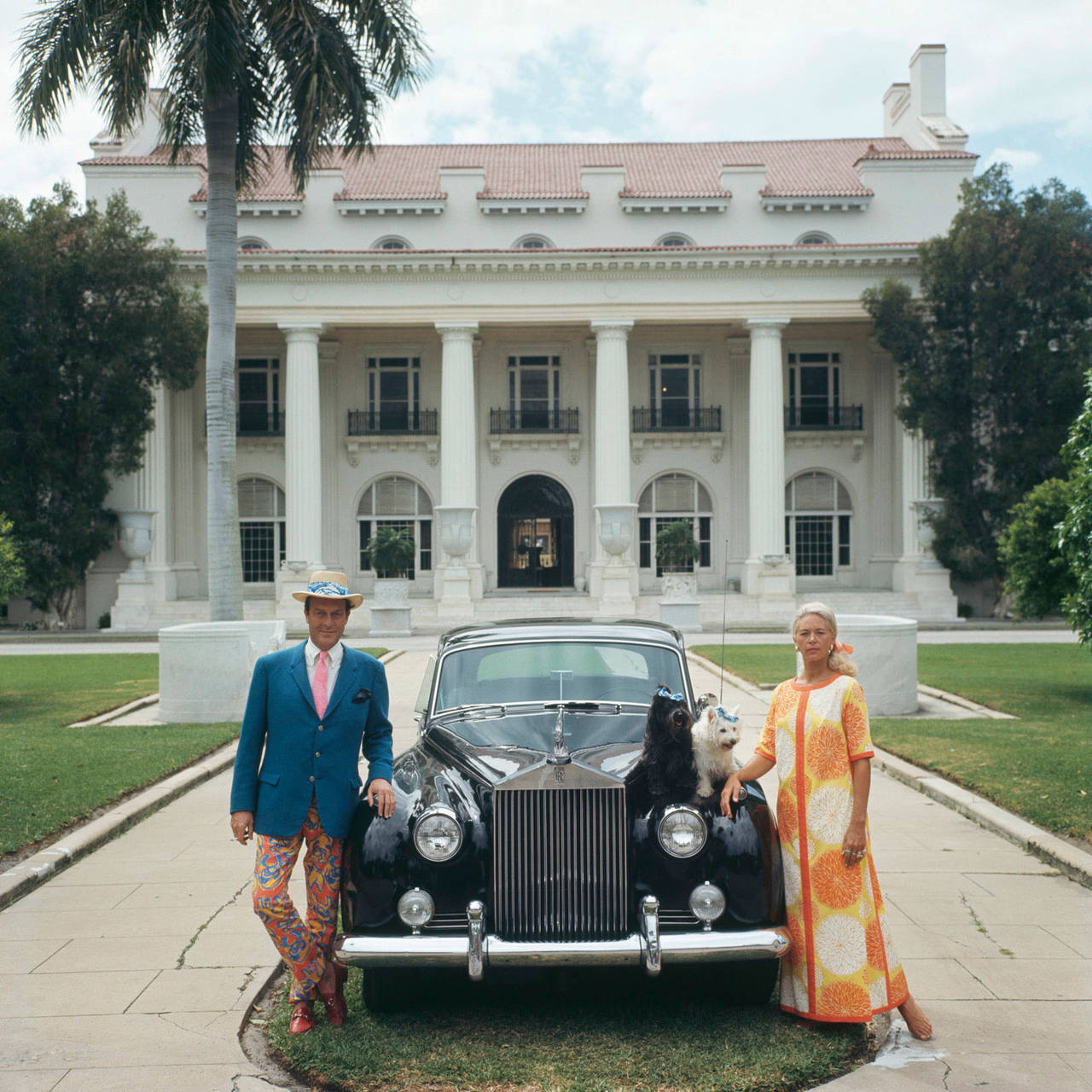 Slim Aarons Portrait Photograph Mr Mrs Donald Leas With Rolls Royce Flagler Museum