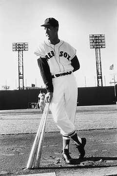 Ted Williams for the Red Sox at Fenway Park, Boston