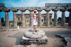 Laura Hawk amid the ancient Greek ruins of Paestum, on the Gulf of Salerno, 1984