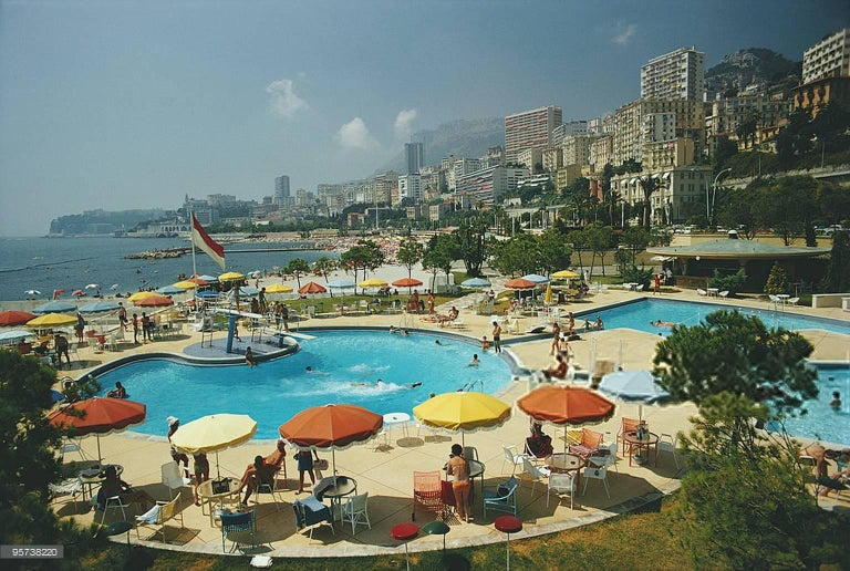 Slim Aarons 'Monte Carlo Beach Club' (Slim Aarons Estate Edition) - Photograph by Slim Aarons