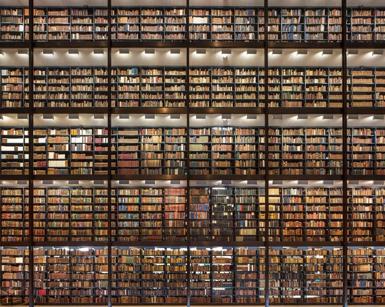 Reinhard Görner Figurative Photograph - Shining Wall of Books,  Beinecke Rare Books and Manuscript Library, New Haven