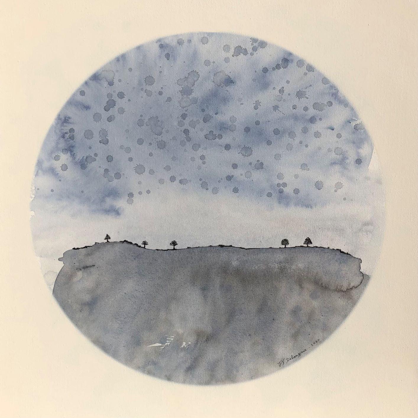 """Realm of Soul Blue"" 80x80cm landscape painting acrylic ink, canvas blue nature"