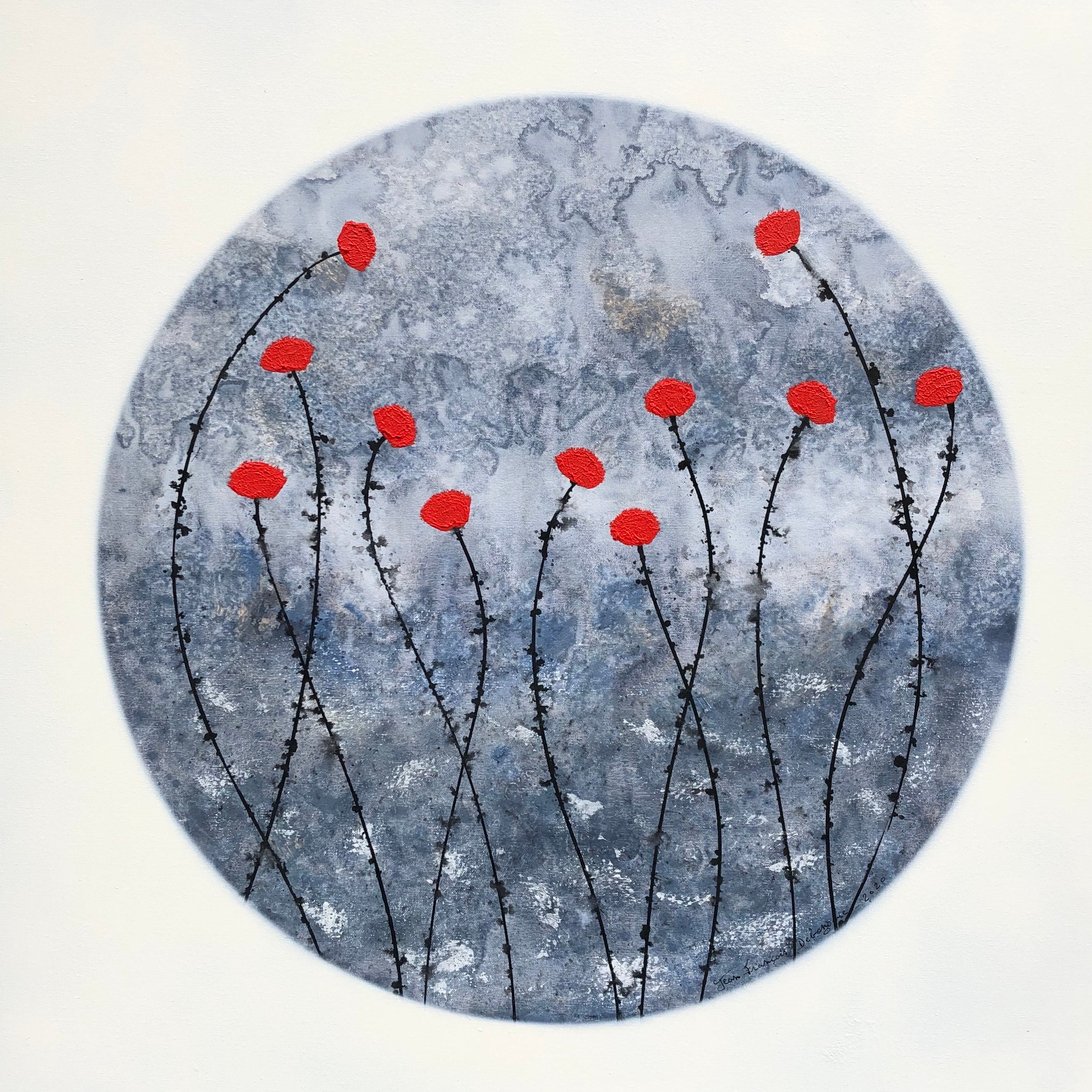"""""""Little Red Flowers"""" 80x80cm floral painting acrylic ink, canvas blue red"""