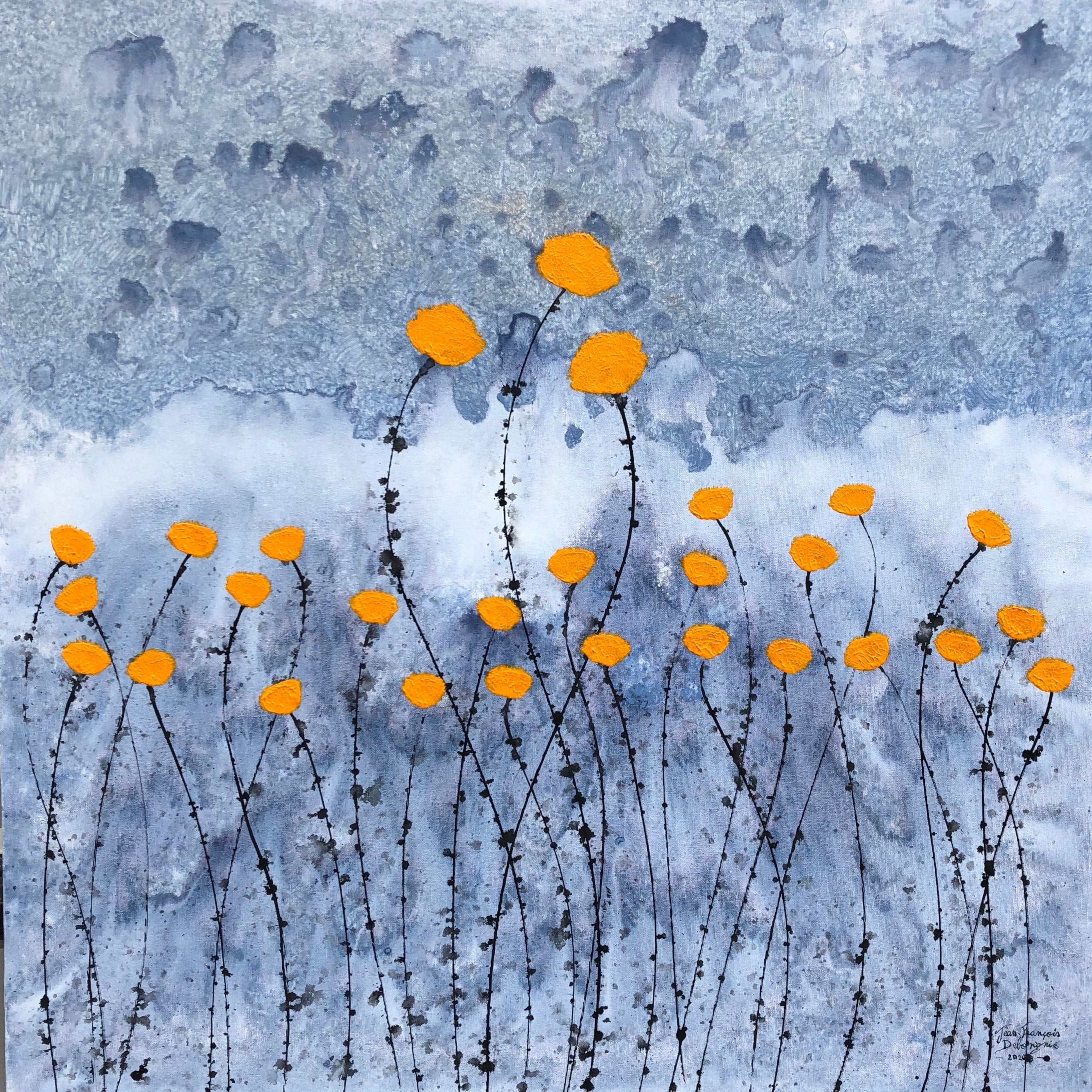 """""""Flower Field"""" 80x80cm floral painting acrylic ink on canvas orange nature"""