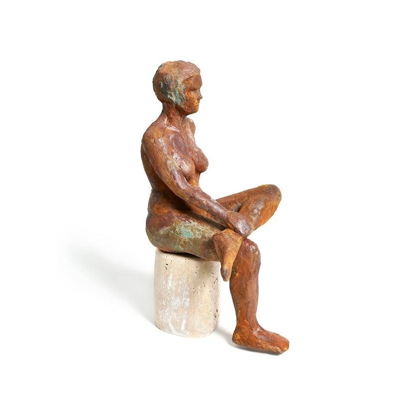 """Kerri, Cross with Me"" Nude Figurative Medium Sculpture, Brown, Red"