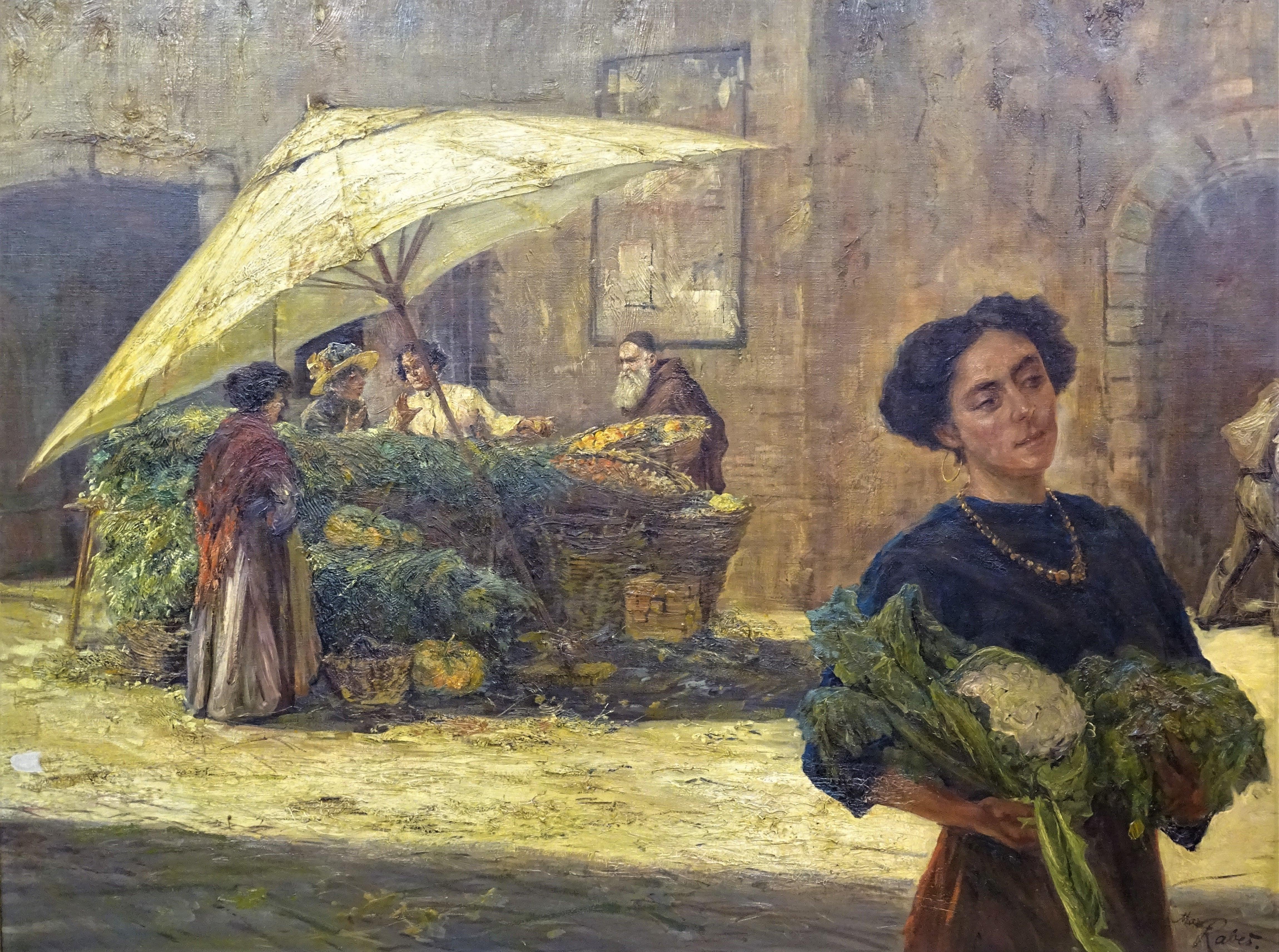 Early 20th Century Orientalist Style Max Rabes Italian Market Oil on Canvas