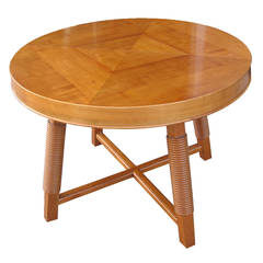 French Basque 1940's round extension table by Victor Courtray