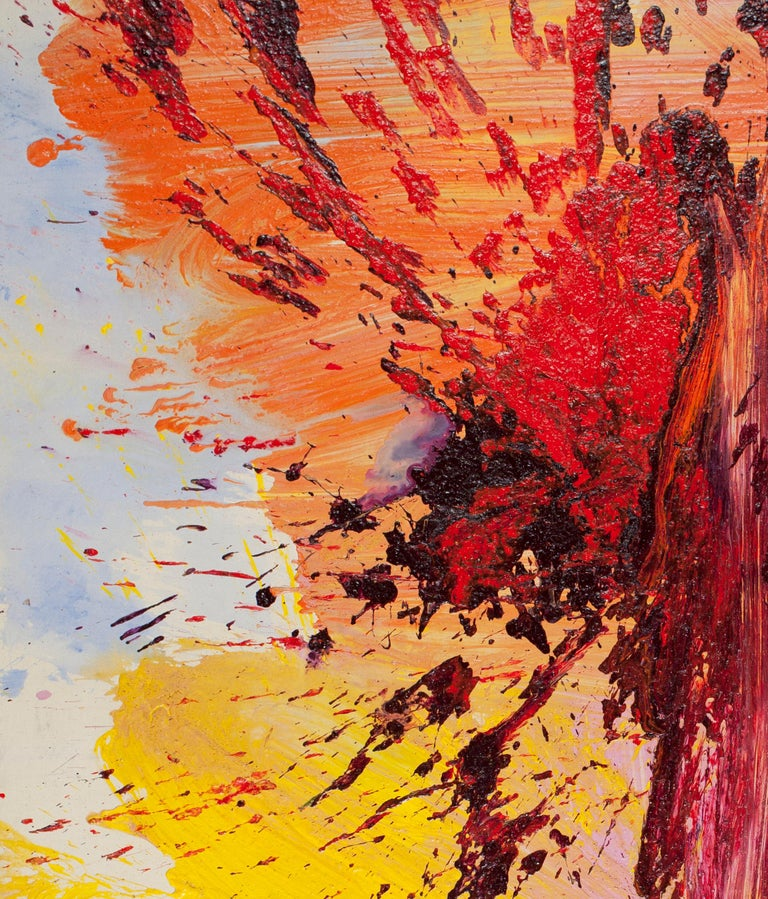 One Time Only - Orange Abstract Painting by Edvins Strautmanis