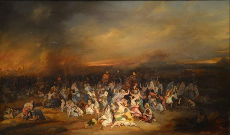 Unknown Figurative Painting - The Deportation of the Jews to Babylon