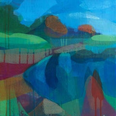 """(Clydesdale) Duck Pond"" - Colorful Abstract Landscape Painting - Diebenkorn"
