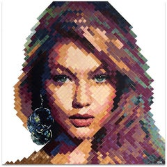 """Gigi Hadid"" - Contemporary Pointillist Painting - Chuck Close"
