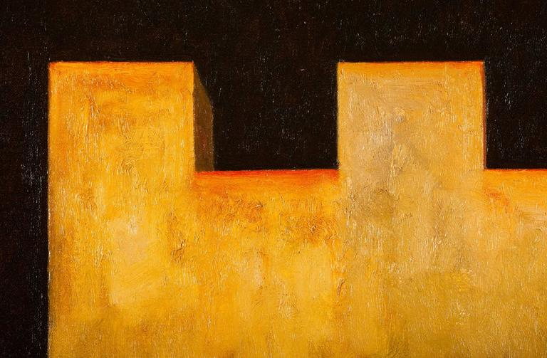 Fortress II - Orange Abstract Painting by Edward Rice