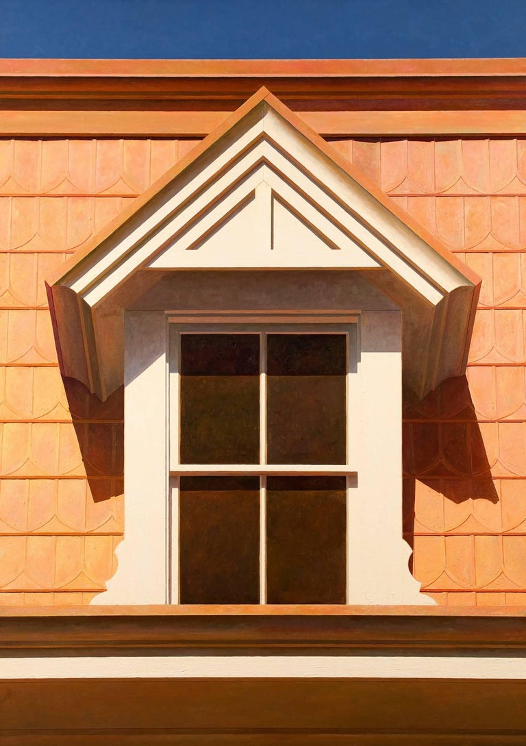 """Edward Rice is inspired by the work of Edward Hopper, Charles Sheeler, Lucian Freud and Georgio de Chirico.   """"Dormer Mansard Roof"""" is a large scale painting depicting a Dormer style window and Mansard style roof. The earliest known example of a"""