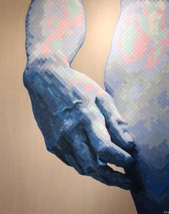 """Hand of David"" - Contemporary Pointillist Painting - Chuck Close"