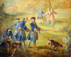 Louis XV Holding His Bloodhound at Puys