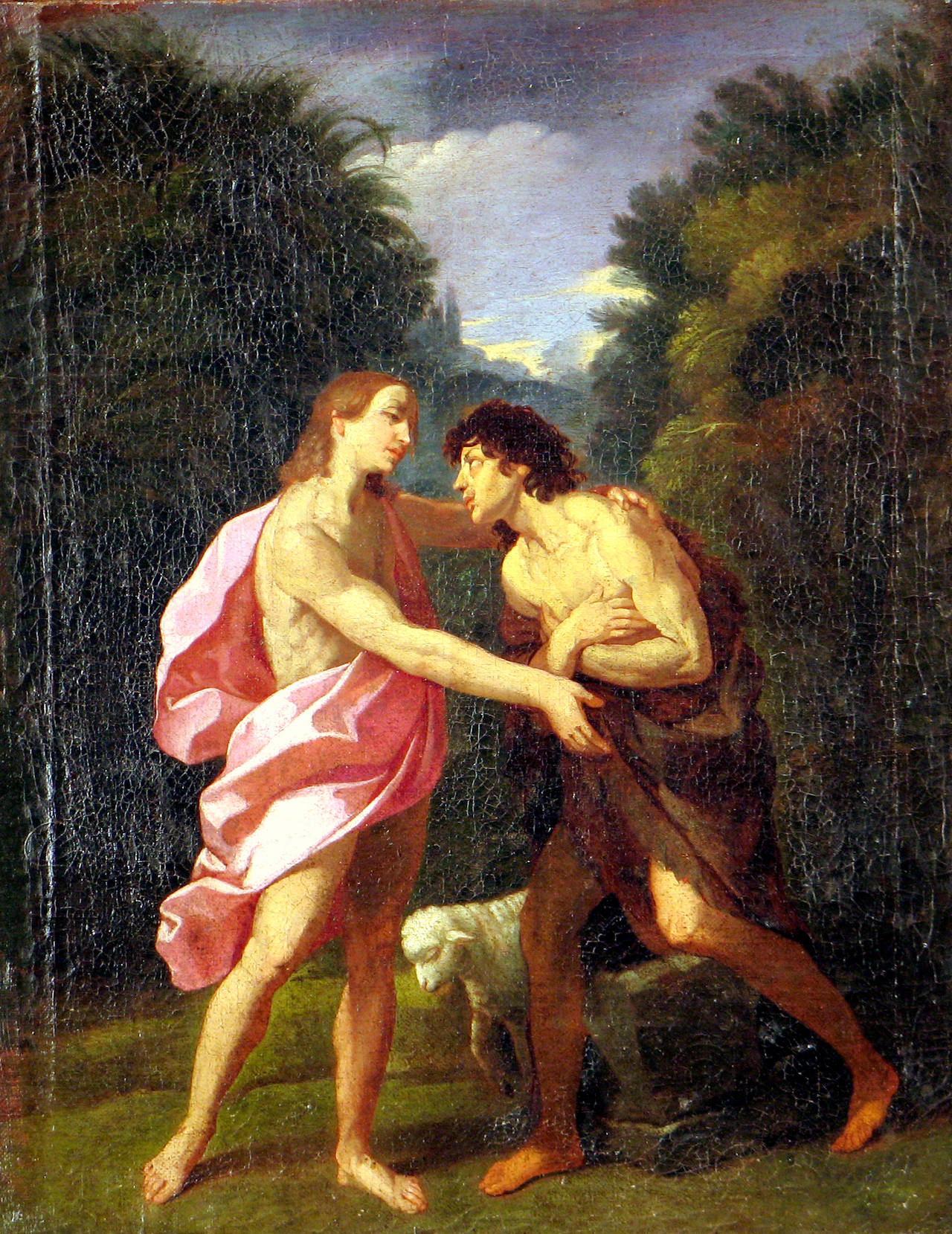 Jesus and Saint John the Baptist - Painting by Unknown