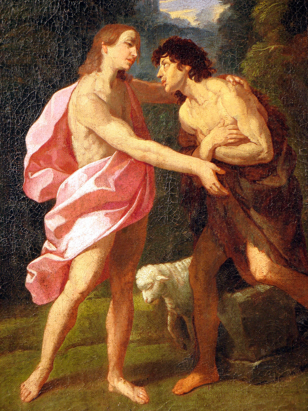 """Similar in style to Guido Reni's late masterpiece """"The Baptism of Christ,"""" circa 1623, this painting by a follower of Guido Reni captures Reni's unique balance of strictly disciplined compositional form and profound intimate sentiment.  Born in"""