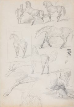 """Studies of Horses and Riders"" - Degas Sketchbook Drawing - Horse Racing"
