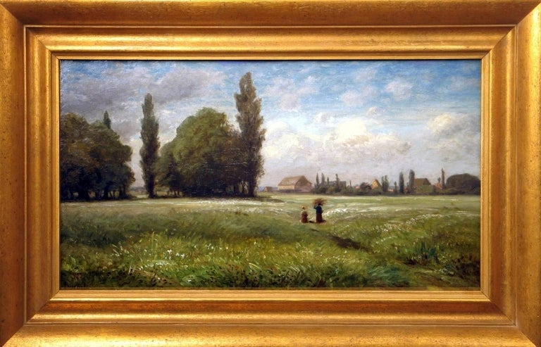 Carl Peter Burnitz Landscape Painting - Field with Two Farmers