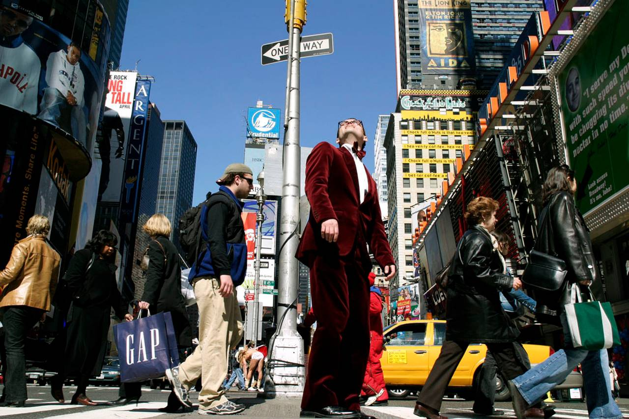 """""""The Man In The Red Velvet Suit"""" - Abstract Fashion Photography - Times Square"""