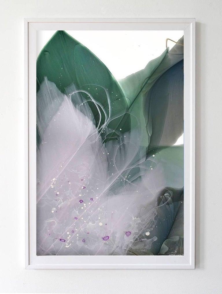 Green Glen - Gray Abstract Painting by Marina Dunbar