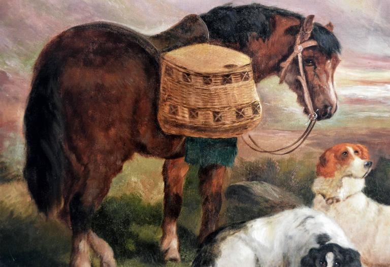 The Day's Bag, oil on canvas  - Victorian Painting by Robert Cleminson